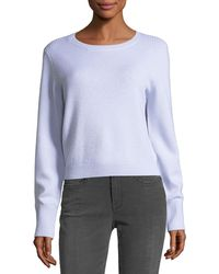 FRAME - Crewneck Long-sleeve Wool-cashmere Cropped Sweater - Lyst