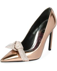 Tom Ford - Mirrored Metallic Pumps With Crystal Bow - Lyst