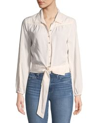 72b8838b25610 Lyst - Elie Tahari Damaris Long-sleeve Lace-trim Silk Blouse in White