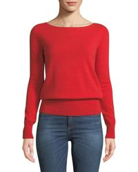1549b294aa5a Lyst - Neiman Marcus Long-sleeve Cashmere Boat-neck Sweater in Pink