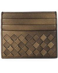 Bottega Veneta - Intrecciato Metallic Leather Card Case - Lyst