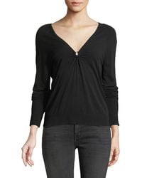 MILLY - Italian Ruched Keyhole Top - Lyst