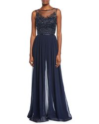 e90708b20c THEIA - Embellished Tulle   Chiffon Georgette Jumpsuit - Lyst