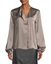 bbc1e23fb189d7 Lyst - Vince Silk Tie-neck Long-sleeve Popover Blouse in Brown