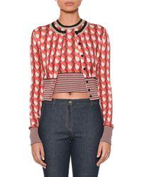 Bottega Veneta - Long-sleeve Button-front Metallic Wallpaper Arc-print Cardigan W/ Striped Border - Lyst