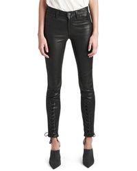 Hudson Jeans - Nico Mid-rise Super Skinny Leather Lace-up Pants - Lyst