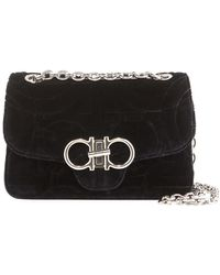 Ferragamo - Gancio Quilting Velvet Shoulder Bag - Lyst
