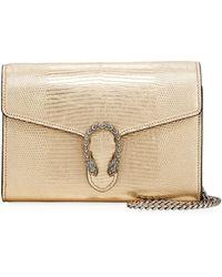 0c14db00b2b Lyst - Gucci Dionysus Suede Mini Chain Bag in Natural