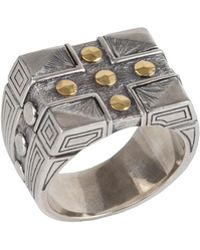 Konstantino - Men's Sterling Silver & 18k Gold Cross Signet Ring - Lyst