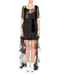 Givenchy - High-low Short-sleeve Ruffled Chiffon Lace Cocktail Dress - Lyst