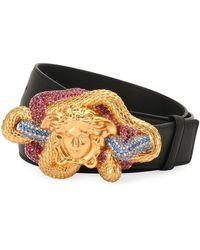 Versace - Leather Multicolor Medusa-buckle Belt - Lyst