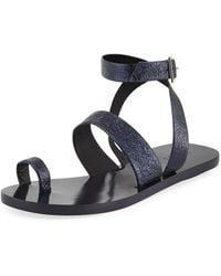 Tibi - Noah Crinkled Leather Flat Sandal - Lyst