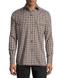 Tom Ford - Check Cotton Military Shirt - Lyst