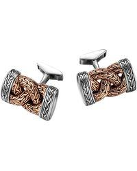 John Hardy - Bronze & Sterling Silver Braid Cuff Links - Lyst