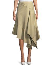 Palmer//Harding - Spicy Asymmetric Draped Poplin Midi Skirt - Lyst