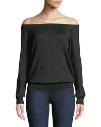 Michael Kors - Off-the-shoulder Long-sleeve Metallic-knit Pullover Sweater - Lyst