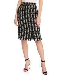 Oscar de la Renta - Shimmer Check-tweed Pencil Skirt - Lyst