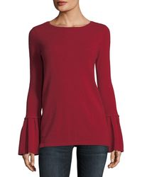 6344d628b813 Lyst - Neiman Marcus Pleated Bell-sleeve Boat-neck Cashmere Sweater ...
