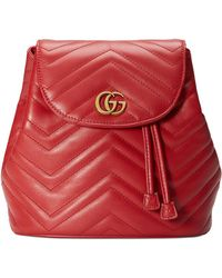 4bbebdbfb Gucci Women's GG Marmont Chevron Quilted Leather Mini Backpack - Hibiscus  Red in Pink - Lyst
