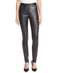 Neiman Marcus - Stretch Lambskin Leather Skinny Jeans - Lyst