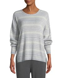 Eileen Fisher - Long-sleeve Striped Organic Cotton Sweater - Lyst