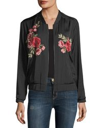 Vince Camuto   Embroidered Satin Bomber Jacket   Lyst