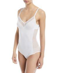 Hanro - Cara Striped-panel Bodysuit - Lyst