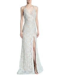 Jovani - Lace Halter Gown W/ High Slit - Lyst