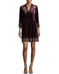 4ec850e2f2a Johnny Was - Flores 3 4-sleeve Boho Velvet Dress W  Floral Embroidery