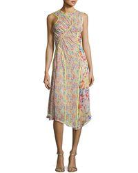 Jason Wu - Floral-print Crinkled Chiffon Sleeveless Midi Dress - Lyst