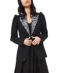 Michael Kors - Leopard Embroidered Puff Sleeve Blazer - Lyst