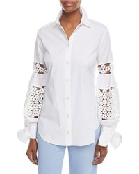 Lela Rose | Button-front Collared Stretch Poplin Shirt W/ Lace Insets | Lyst