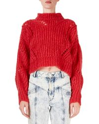Isabel Marant - Irren Mock-neck Cropped Chunky-knit Sweater - Lyst