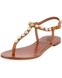 fc7c5c130541 Lyst - Tory Burch Melody Pearly Flat Thong Sandal in Black