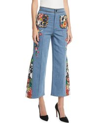 Alice + Olivia - Reina High-waist Flared-leg Jeans With Embroidery - Lyst