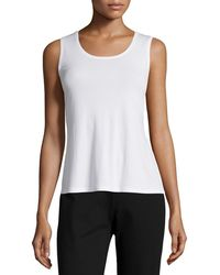 Eileen Fisher - Petite Stretch Silk Jersey Tank - Lyst