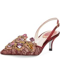 Rene Caovilla - Multi-lace Embellished Slingback Pumps - Lyst