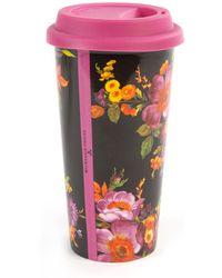 Mackenzie-Childs - Black Flower Market Travel Cup - Lyst