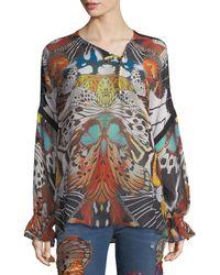 Roberto Cavalli - Long-sleeve Butterfly-print Silk Blouse - Lyst
