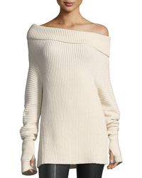 Helmut Lang | Folded Off-the-shoulder Ribbed Long Sweater | Lyst
