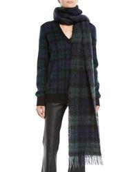 Michael Kors - Oversized Tartan Wool Scarf W/ Fringe Edges - Lyst