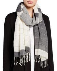 Eileen Fisher Block Stripe Handloom Organic Cotton Scarf - Black