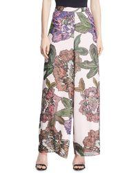 Badgley Mischka - Wide-leg Floral-print Pants - Lyst