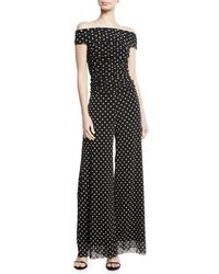 Fuzzi - Dotted Tulle Off-the-shoulder Jumpsuit - Lyst