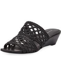 Donald J Pliner - Albi Woven-leather Demi-wedge Slide Sandals - Lyst