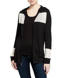 Neiman Marcus - Zip-front Colorblock Cashmere-blend Hoodie Jacket W/ Mesh Insets - Lyst