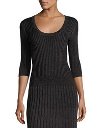 Rebecca Taylor - Scoop-neck Fitted Metallic Ribbed Pullover Top - Lyst