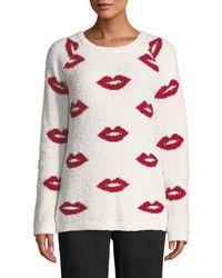 Pj Salvage - True Love Lip-print Marshmallow-knit Sweater - Lyst