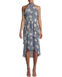 MISA - Anca Floral Ruffle Halter Midi Dress - Lyst