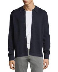 Neiman Marcus - Collared Pique Wool-silk Cardigan - Lyst